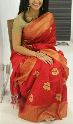 Handloom Chili Red Saree with Peacocks                                                                                                                                                                                 More