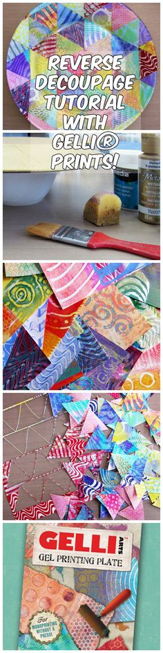 Great tutorial on Reverse Decoupage - using your Gelli Plate Prints! Step by step instructions and lots of pictures!