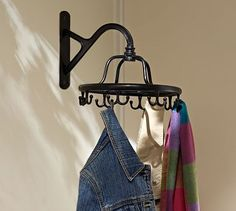 love this! So much more interesting the typical coat rack! Wall-Mount Garment Rack #potterybarn