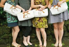 Personalized handbags or clutches are a classic and simple way to say thank you to your bridesmaids.