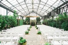 wedding ceremony setup - photo by Kelly Sweet Photography http://ruffledblog.com/botanical-garden-wedding-with-glass-ceilings