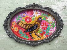 A personal favorite from my Etsy shop https://www.etsy.com/listing/534383757/mixed-media-bird-painting-on-vintage