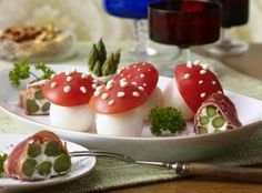 Wonderland Themed Party: Egg and Tomato Mushrooms
