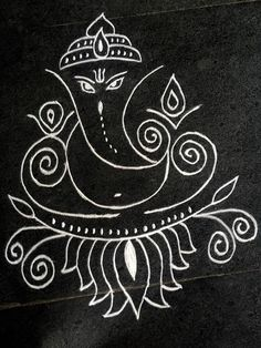 Siddhi, the insight and attainment of occult powers through the Ajna or third eye / Nilam, Kirlia Free Hand Rangoli Design, Rangoli Border Designs, Small Rangoli Design, Rangoli Designs Images, Rangoli Designs Diwali, Beautiful Rangoli Designs, Diwali Rangoli, Ganesha Drawing, Ganesha Painting