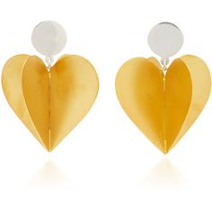 Silver and Rhodium-Plated Enamel Double Heart Earrings | Moda Operandi ($245) ❤ liked on Polyvore featuring jewelry, earrings, bow earrings, leaves jewelry, swarovski crystal jewelry, baroque jewelry and silver bow earrings