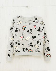 BSK embroidered Mickey all over sweatshirt - Sweatshirts & Hoodies - Bershka United Kingdom Trendy Outfits, Girl Outfits, Fashion Outfits, Mode Grunge, Mode Streetwear, Kawaii Clothes, Disney Outfits, Kawaii Fashion, Sweatpants Outfit