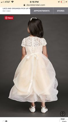 c06cb2a35a1 Lace and Organza Pick-Up Flower Girl Dress RK1380
