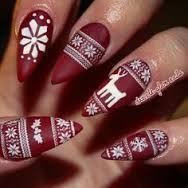almond matte red Christmas sweater nails
