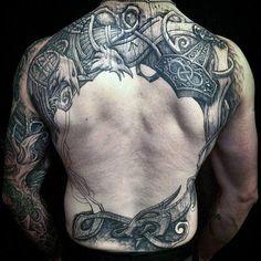 Mans Back Nordic Themed Eagles Tattoo