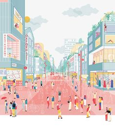 """An illustrated view of 'A future for the Oxford Street district' grafisch illustratie rood roze blauw geel perspectief An illustrated view of """"A future for the Oxford Street district"""" graphic illustration red pink blue yellow perspective Collage Architecture, Cultural Architecture, Architecture Graphics, Architecture Portfolio, Architecture Drawings, Rendering Architecture, Visualisation, Architecture Visualization, Graphic Illustration"""