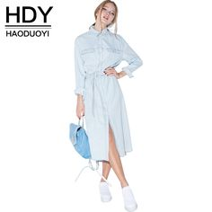 c5a67171665c8 HDY Haoduoyi Women Retro Denim Dress Front Belt Casual Vintage Dress Women  Blue Solid Midi Shirt Dress Robe Femme Vestido-in Dresses from Women s  Clothing ...