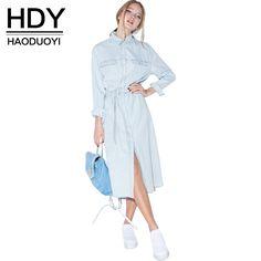 Ucuz HDY Haoduoyi 2016 Moda Kadın Mavi Katı Denim Retro Elbise tek Göğüslü Uzun Maxi Elbise Ön Kemer Rahat Gevşek Gömlek elbise, Satın Kalite elbiseler doğrudan Çin Tedarikçilerden: HDY Haoduoyi 2016 Moda Kadın Mavi Katı Denim Retro Elbise tek Göğüslü Uzun Maxi Elbise Ön Kemer Rahat Gevşek Gömlek elbi