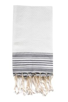Scents & Feel White + Gray Striped Fouta Guest Towel via Establishment Home