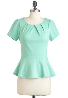 Teach for the Sky Top - Green, Solid, Party, Work, Casual, Peplum, Short Sleeves, Fall, Mid-length
