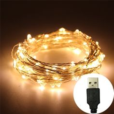 Qicai H USB LED Fairy Starry String Lights, Waterproof Rope Lights for Bedroom Indoor Outdoor Party Wedding Christmas Decoration, 33 Ft Silver Wire 100 LED Bulbs, Warm White >>> You can get additional details at the image link.