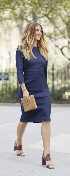 Upgrade your look with an effortlessly chic Parisian inspired sheath dress in timeless denim. Pair this flattering silhouette with heels and a clutch and gorgeously go | Banana Republic
