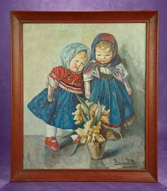 Elan Auction - June 10-11, 2017 | Early 20th Century Oil Painting of Two Kathe Kruse Dolls by Ritta Boemm. $800/1200