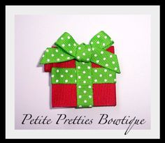 Boutique Holiday Hair Bow Christmas Present Clip by petitepretties, $3.50