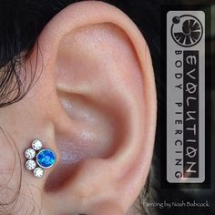 Healed tragus piercing with opal and CZ in titanium jewelry by anatometal  (at Evolution Piercing)