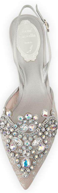 Rene Caovilla Jeweled Lace Halter Pump in Silver