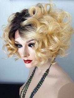 chic, Bouncy, wavy, Lace Front Wig, #XR44/27/Blonde, Dark Rooted, Dark Brown, Blonde,Strawberry Blonde underhair