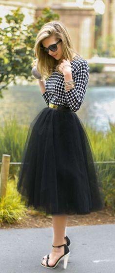 El regreso de la falda de tul: fotos de los modelos - Falda tul negra look