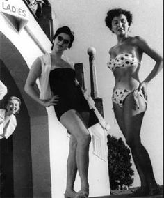 The first bikini spotted in Vancouver by Province photographer Ed Cosgrove in the summer of 1953 in front on the bathhouse at English Bay .  Lily Groulx( left) and Donna Koloski (right)