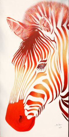 Buy zebra 11006, a Acrylic on  by Poggetti Christian from . It portrays: Animal, relevant to:  face in gold and red