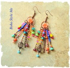 Boho Colorful Fun Earrings Bohemian Dangle Earrings Modern