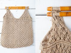 Vintage Macrame Knitted Bag / 1980s Vintage Light Brown Knit