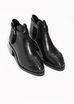 & Other Stories | Cut-Out Leather Ankle Boots