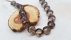 "1 Strand Natural Smoky Quartz Coin Shape Faceted Approx 18x11mm Beads 15.5"" Long #Empressbeads"