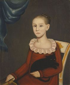 "Ammi Phillips (1788‒1865), ""Girl with Cat,"" ca. 1814. Oil on canvas, 30 x 25 in. Amon Carter Museum of American Art, Fort Worth (1967.199). Not represented in the Frick Digital Image Archive, but we couldn't resist! #welovecats #FolkArt"