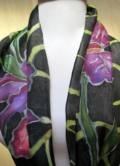 Silk scarf handpainted Shawl Wrap by SilkworthSilkScarves on Etsy
