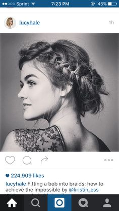 Apparently you can fit a bob in a braided updo! Cute!!