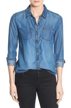 Caslon® Long Sleeve Denim Shirt (Regular & Petite)