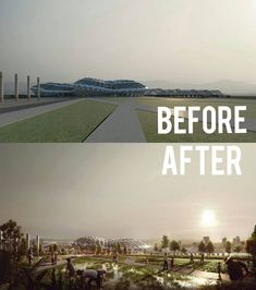 Impressive Stadium Archiviz by Photoshop   before and after