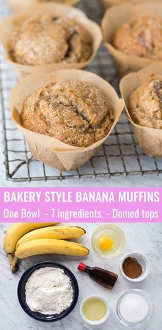 Bakery style banana muffins with domed tops. One bowl banana bread muffins for the whole family (including kids & toddlers). Awesome banana muffin recipe to use with gluten free flour! Plus turn these into banana chocolate chip muffins with chocolate chips! #bananamuffins #bananabreadmuffins #bakerystylemuffins