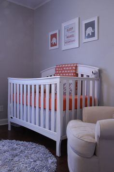 Coral and Gray Nursery Prints Elephants and Let Her by karimachal, $38.00