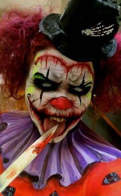 Psycho Killer Clown - New Ideas Scary Clown Costume, Halloween Makeup Clown, Creepy Halloween Makeup, Hot Halloween Costumes, Evil Clown Makeup, Lion Halloween, Circus Makeup, Creepy Makeup, Horror Makeup