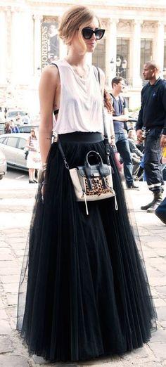 #street #style / black tulle maxi skirt + tank top