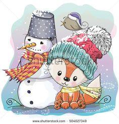 Cute Cartoon Fox in a knitted cap and snowman