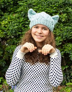 Finally, the perfect cat ear hat! This pattern has actual ears, not just square corners like most ear hats. The front of each ear has a purled inner ear and a flat stockinette back, more like a real cat ear. Shaping on the sides of the hat brings the ears down on the sides of the head a little, so they don't stick straight up. Simple chunky cables look cozy with a stylish bulky fit. Best of all, it works up in no time with one skein of Thick & Quick super bulk yarn.