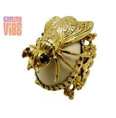 Vintage Ring | HELP ME Filigree Fly Ruby Eyes  | Goldtone Revival Insect Creepy Chic Novelty 1950s on Etsy, $95.00
