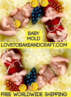Baby mold Baby mould Doll mold Doll mould Fondant baby Gumpastebaby babydollmold babydollmould Beautiful silicone double sided baby mold One baby Fondant Baby, Baby Cupcake, Polymer Clay Fairy, Polymer Clay Figures, Polymer Clay Dolls, Silikon Baby, Baby Mold, Baby Cake Topper, Silicone Dolls