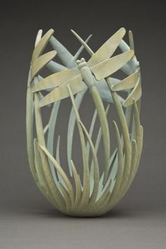 """Wood Art """"Reminiscence"""" by Ron Layport in the David and Karen Long Collection collectorsofwooda. Clay Projects, Clay Crafts, Ceramic Pottery, Ceramic Art, Art Sculpture, Dragonfly Art, Clay Vase, Artist Portfolio, Wood Creations"""