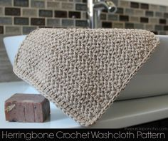 Herringbone Crochet Washcloth Pattern | The Purple Poncho