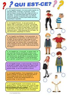 Un petit exercice pour pratiquer la compréhension écrite avec des descriptions de personnes. - Fiches FLE