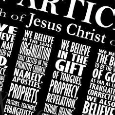 LDS Articles of Faith Subway Art Digital File  by GreenJelloSalad, $6.00