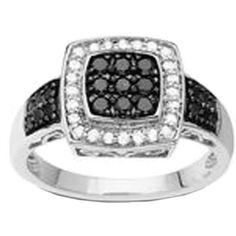 Lord & Taylor 14kt. White Gold Black & White Diamond Ring ($900) ❤ liked on Polyvore